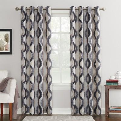 Henniker Ogee Watercolor Energy Efficient Grommet Curtain Panel Gray 54 x84 - Sun Zero