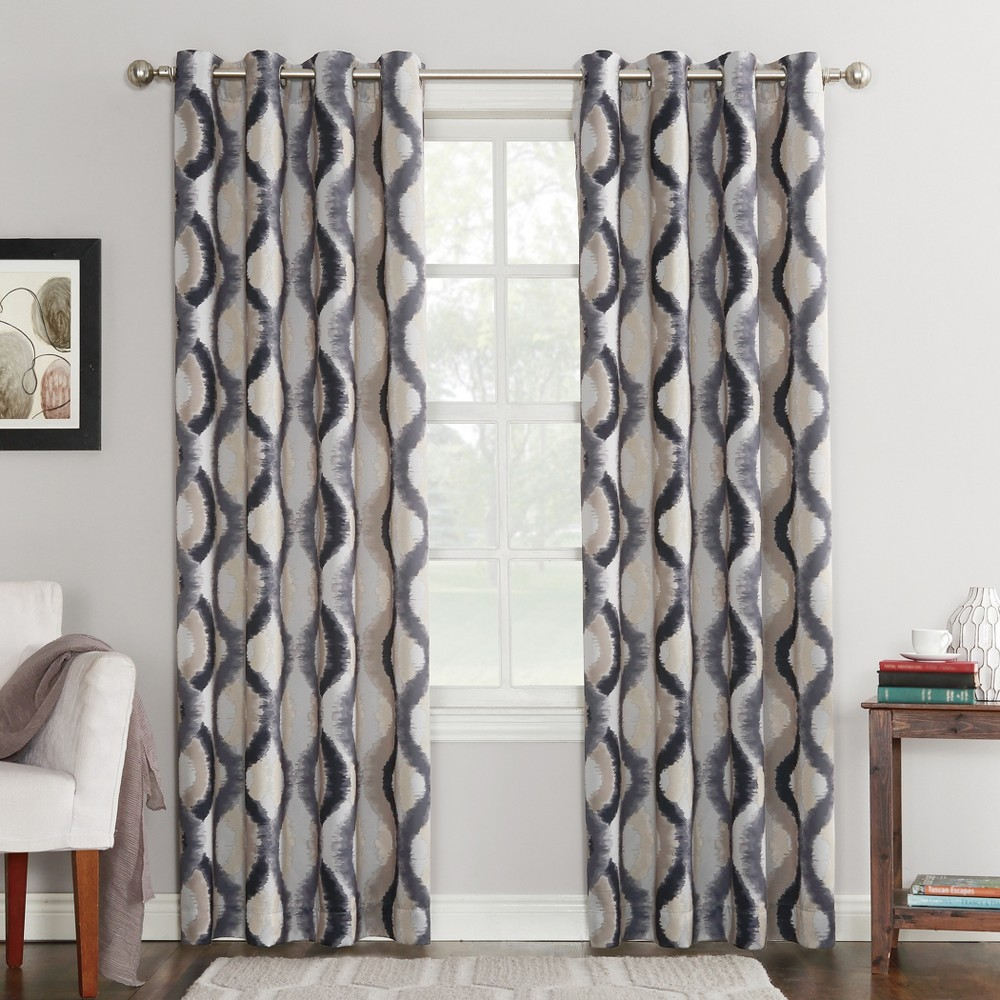Henniker Ogee Watercolor Energy Efficient Grommet Curtain Panel Gray 54
