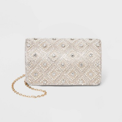 Estee & Lilly Diamond Texture Flap Snap Closure Clutch - Gold