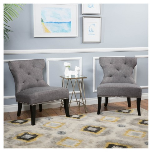Amber Studded Fabric Accent Chair Gray Set Of 2 Christopher