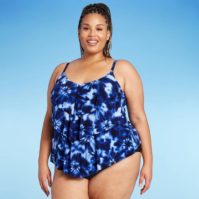 Women's Plus Size Tiered Tankini Top - Aqua Green®