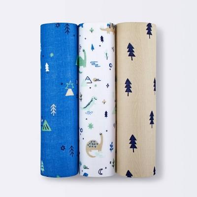 Muslin Swaddle Blanket Dinos Cool 3pk - Cloud Island™ Green/Blue