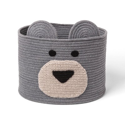 Decorative Basket - Cloud Island™ XL Coiled Bear Face Gray