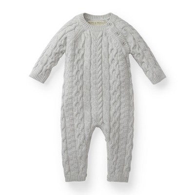Hope & Henry Layette Long Sleeve Cable Knit Sweater Romper, Infant