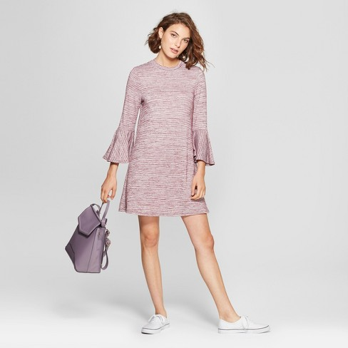 Women's Striped Bell 3/4 Sleeve Knit Dress - Lots of Love by Speechless (Juniors') Wine - image 1 of 2