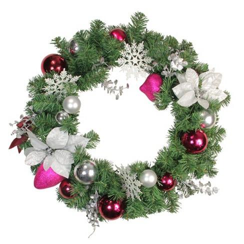 "Northlight 24"" Unlit Purple/Silver Poinsettia, Eucalyptus Artificial Christmas Wreath - image 1 of 1"