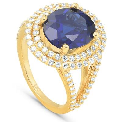 Pompeii3 6 1/5 Ct Huge Diamond Oval Blue Sapphire Diamond Double Halo Ring Yellow Gold