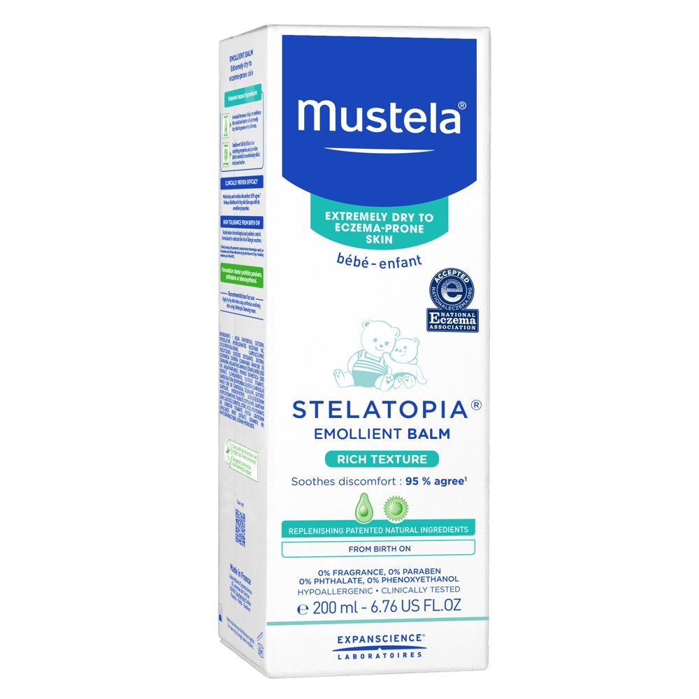 Mustela Stelatopia Emollient Balm - 6.76oz Help soothe your baby's skin with Mustela Stelatopia Emollient Balm. This paraben-free, hypoallergenic lotion is great for both newborns and older babies. The formula is specially made to relieve extreme dryness from eczema and contains no added perfumes.