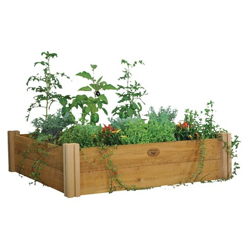 Modular Raised Square Garden Bed Two Level - Brown - Gronomics - image 1 of 2