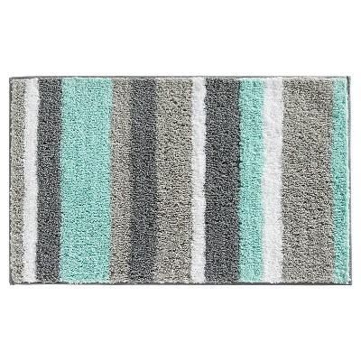 Stripe Bath Rug (34 x21 )Mint Gray - iDESIGN