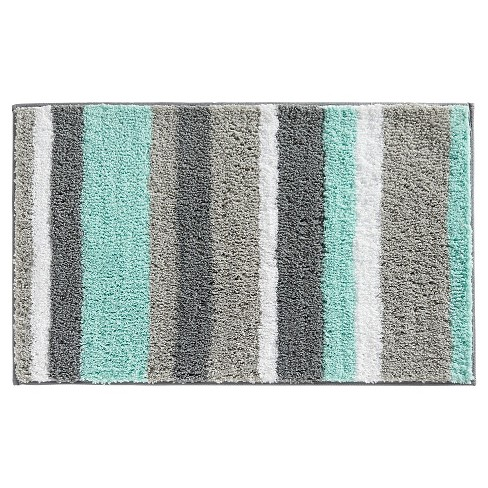 "Stripe Bath Rug (34""x21"") Mint Gray - InterDesign® - image 1 of 1"