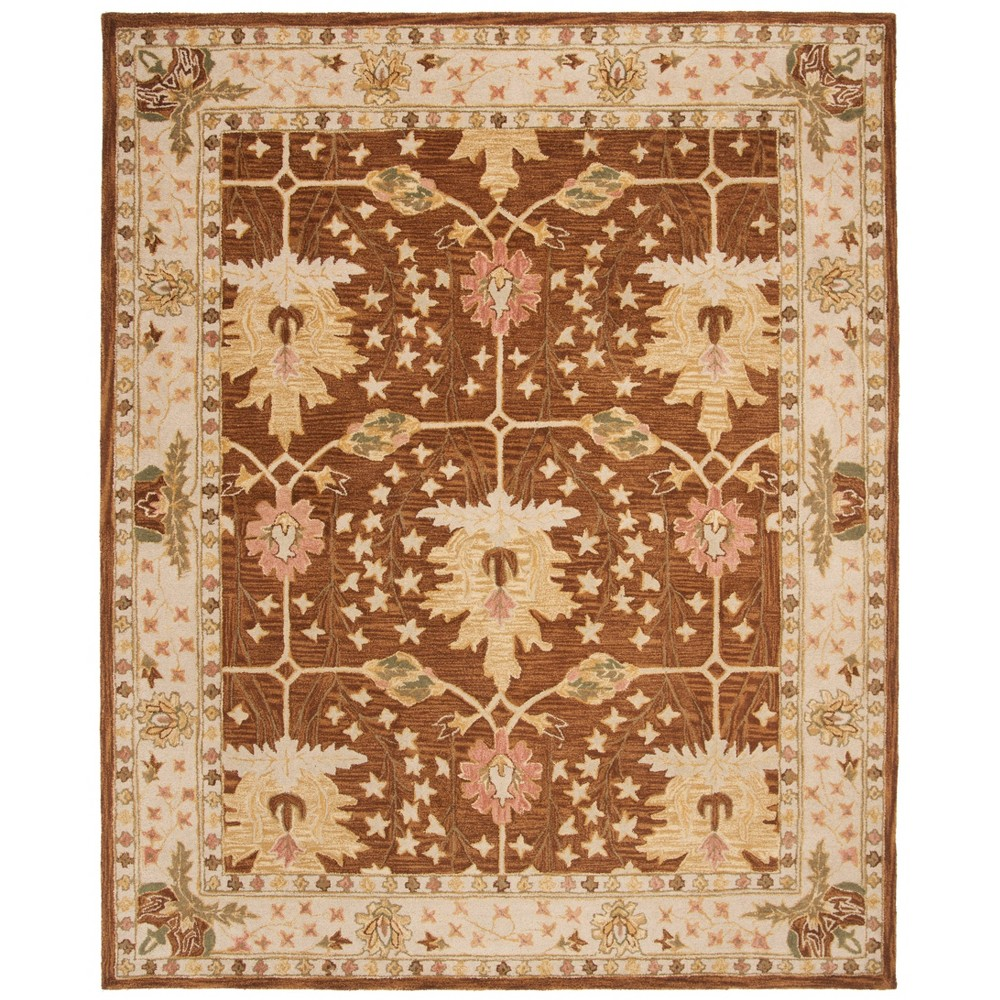 Brown/Beige Leaf Tufted Area Rug 11'X15' - Safavieh, Brownnbeige