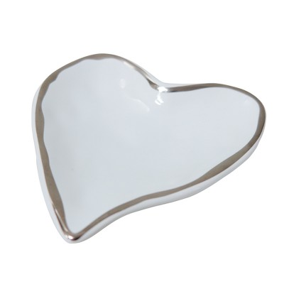 Heart Jewelry Dish White /Silver - 88 Main®