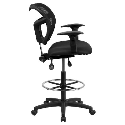 Charmant Mid Back Mesh Drafting Chair With Black Fabric Seat And Height Adjustable  Arms   Flash Furniture : Target