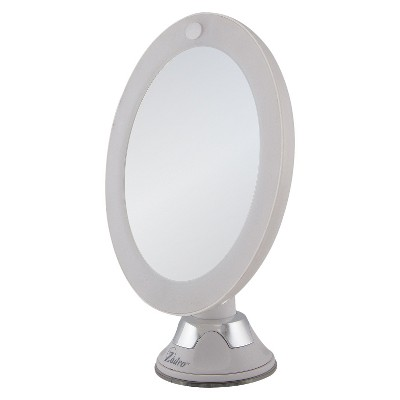 Zadro Z'Swivel LED Lighted 10X Suction Wall-Mount Mirror - White