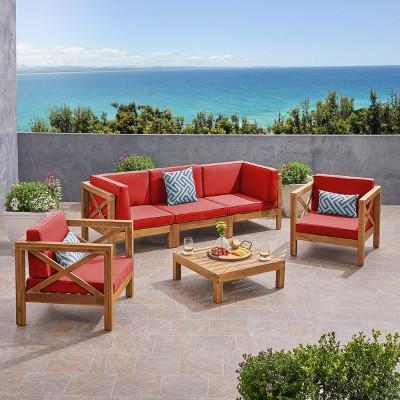 Brava 6pc Acacia Wood Sofa Chat Set - Christopher Knight Home