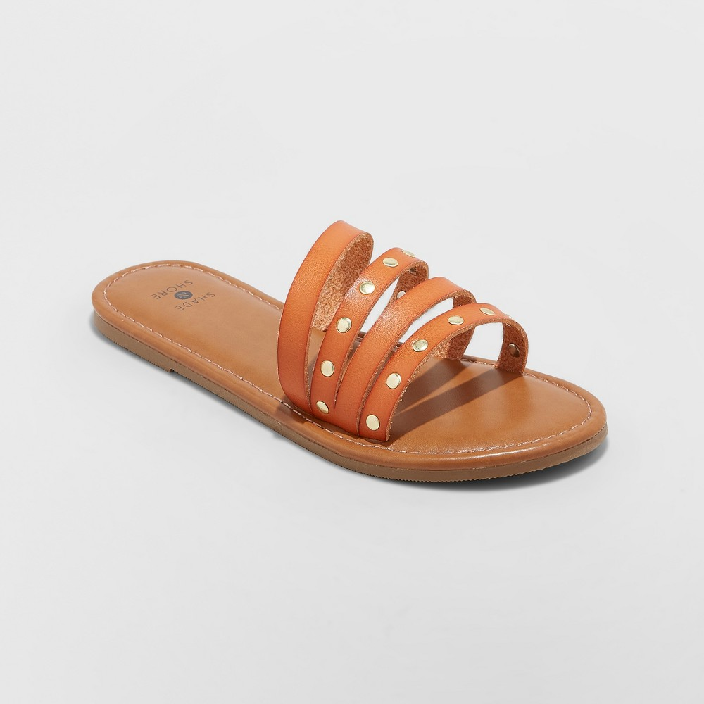 Image of Women's Adira Asymmetrical Four Band Slide Sandals - Shade & Shore Cognac 10, Red