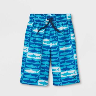 "Speedo Boys' Shark Print Volley 15"" Swim Trunks - Blue"