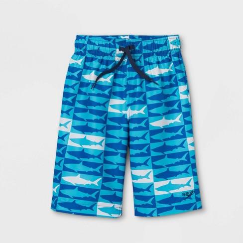 "Speedo Boys' Shark Print Volley 15"" Swim Trunks - Blue - image 1 of 2"