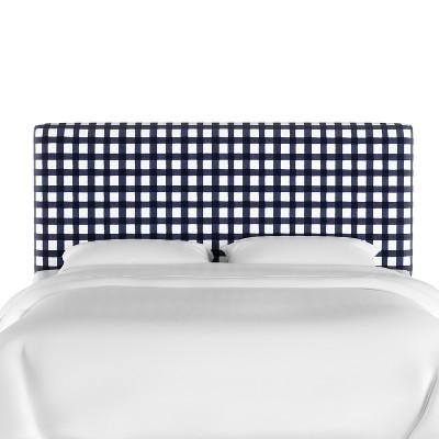 Queen Olivia Upholstered Headboard Blue Check - Skyline Furniture