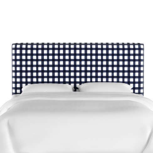 Queen Olivia Upholstered Headboard Blue Check Cloth Company Target