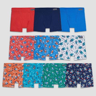 Fruit of the Loom Toddler Boys' 10pk Print/Solid Boxer Briefs - Colors Vary