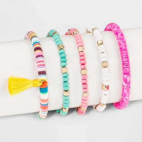 Mixed Beaded with Block Beads with Tassel Bracelet Set 5ct - Wild Fable™ - image 1 of 1