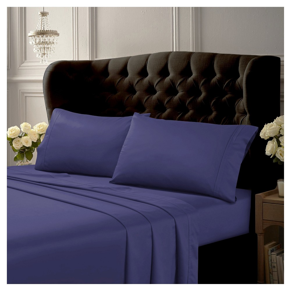 Egyptian Cotton Sateen Deep Pocket Solid Sheet Set (California King) 4pc Midnight Blue 500 Thread Count - Tribeca Living