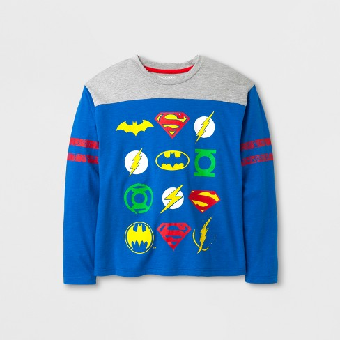 Boys' Justice League Logo Long Sleeve Graphic T-Shirt - Royal Heather - image 1 of 1