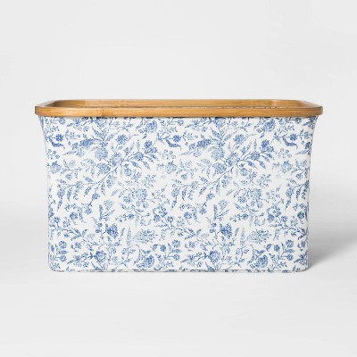 Soft Sided Laundry Basket With Bamboo Rim Floral Blue - Threshold™