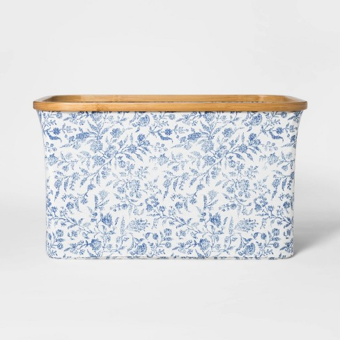 Soft Sided Laundry Basket With Bamboo Rim - Floral Blue - Threshold™ - image 1 of 4