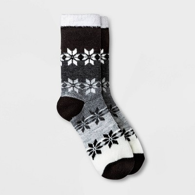 Women's Gradient Snowflake Double Lined Cozy Crew Socks - A New Day™ Black/Charcoal/Heather Gray 4-10