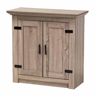 Bruce Farmhouse Wood 2 Doors Shoe Storage Cabinet Oak/Brown - Baxton Studio