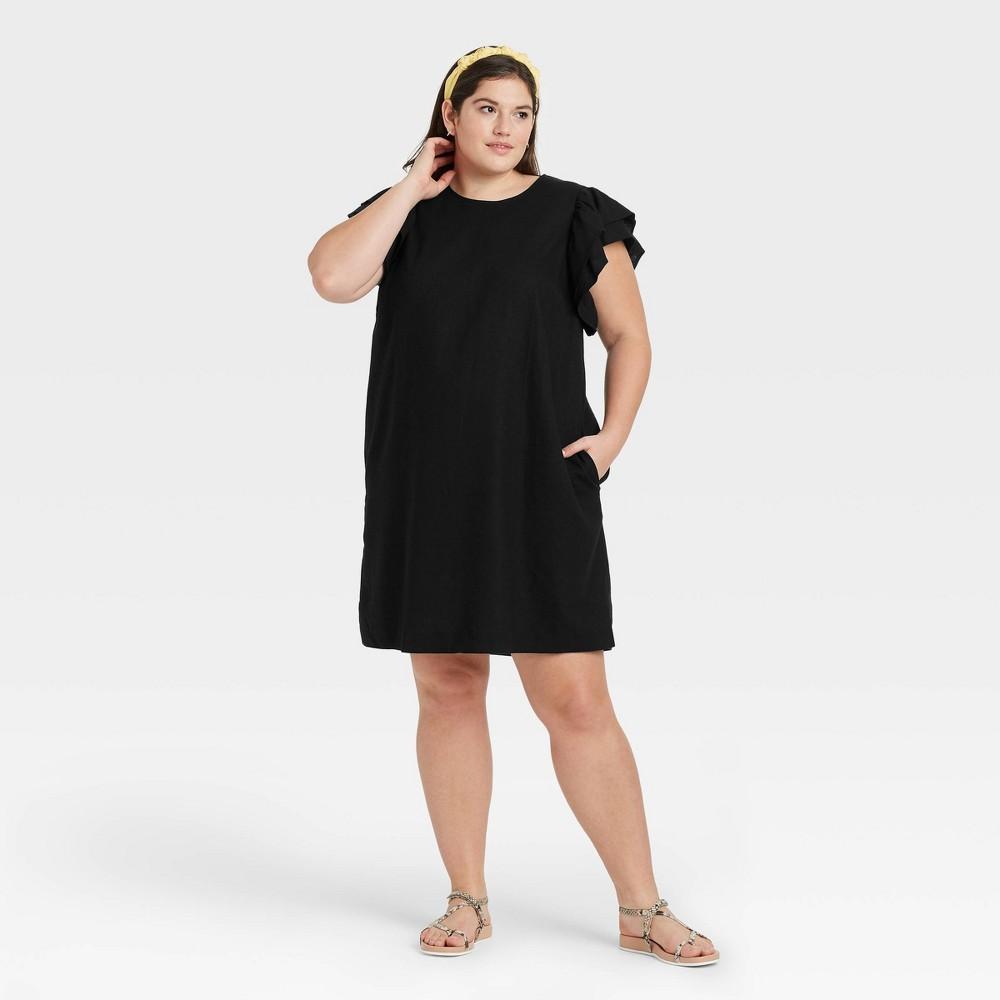 Women 39 S Plus Size Ruffle Short Sleeve Dress A New Day 8482 Black 1x