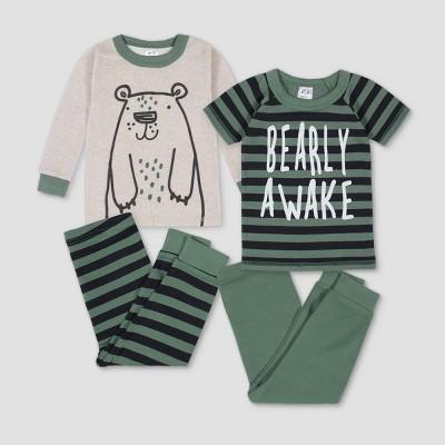 Gerber Baby Boys' 4pc Bear Pajama Set - Brown/Gray 12M