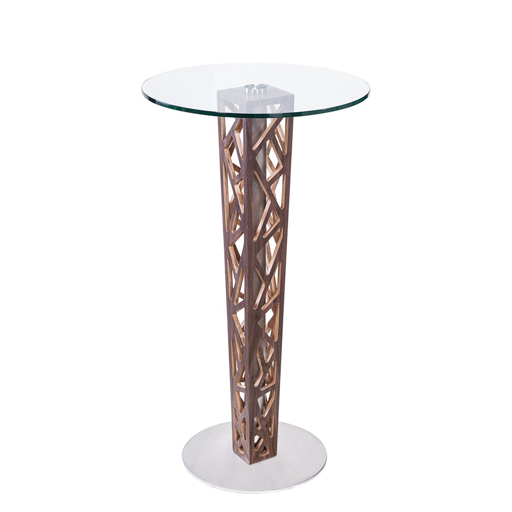 Crystal Bar Table with Walnut (Brown) Veneer column and Brushed Stainless Steel finish with Clear Tempered Glass Top - Armen Living