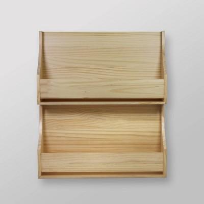 2 Tier Wood Book Shelf Natural - Pillowfort™