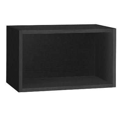 Way Basics Wall Rectangle - Floating Eco Decorative Wall Shelf - Black Wood Grain - Lifetime Guarantee