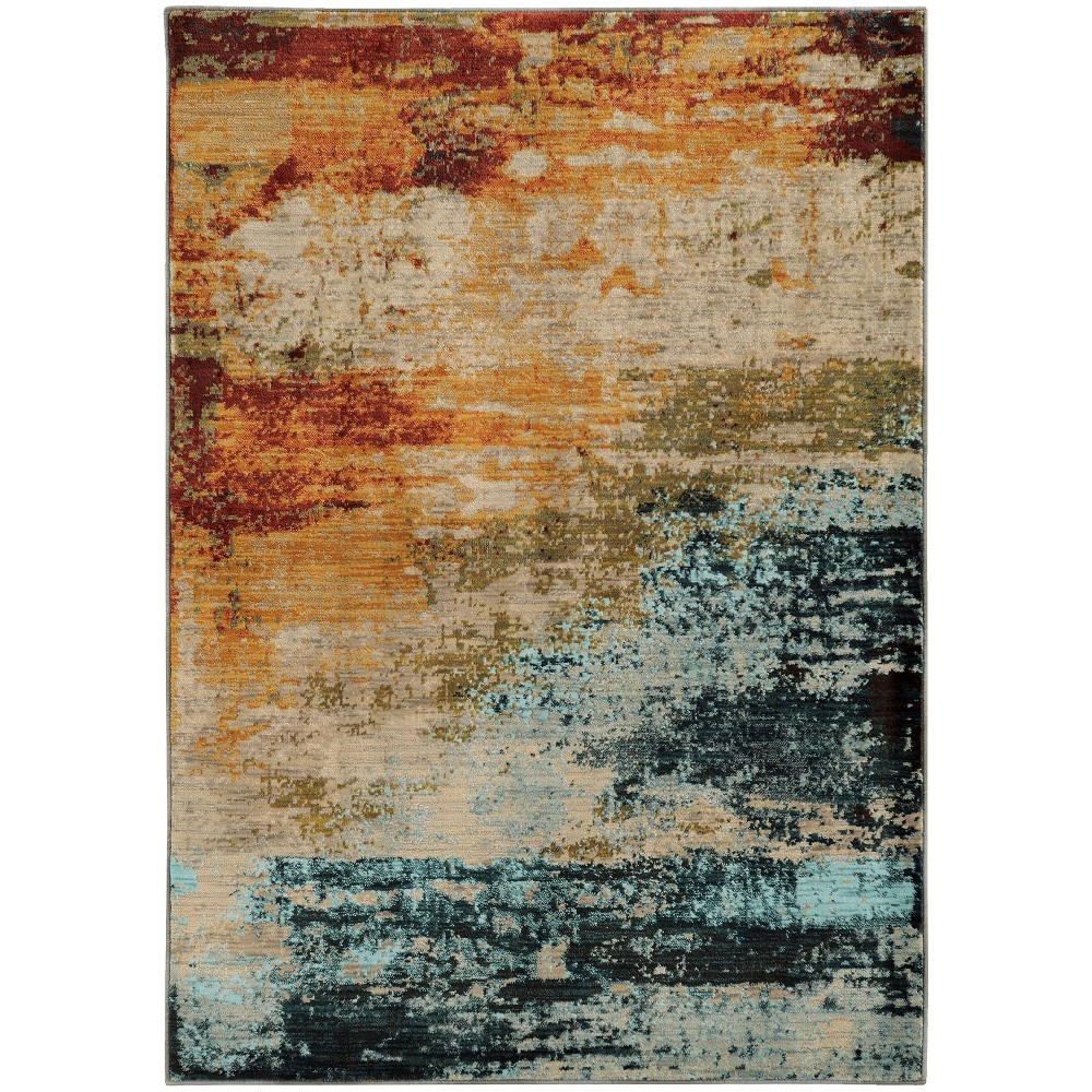 San Blas Abstract Colors Rug Blue/Red
