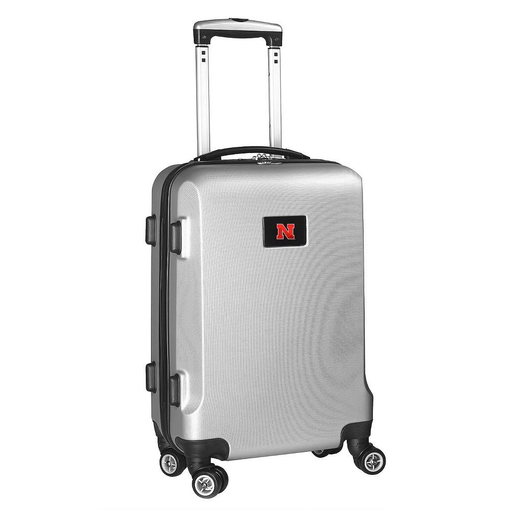 NCAA Nebraska Cornhuskers Silver Hardcase Spinner Carry On Suitcase