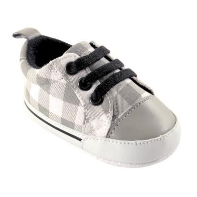 Luvable Friends Baby Boy Crib Shoes, Gray Plaid