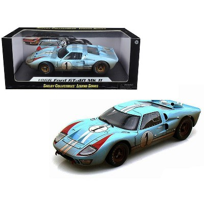1966 Ford GT-40 MK II #1 Light Blue Miles - Hulme Le Mans (Dirty Version) 1/18 Diecast Model Car by Shelby Collectibles