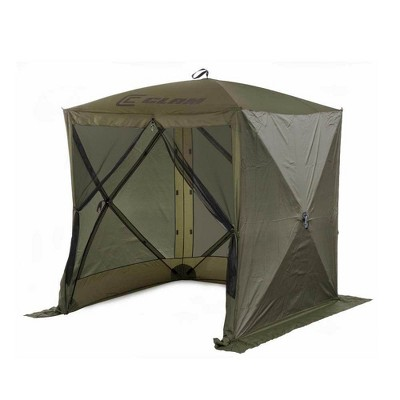 CLAM Quick-Set 6 x 6 Foot Traveler Portable Pop Up Outdoor Camping Gazebo 4 Sided Canopy Shelter with 3 Wind Panels, Ground Stakes, and Carrying Bag