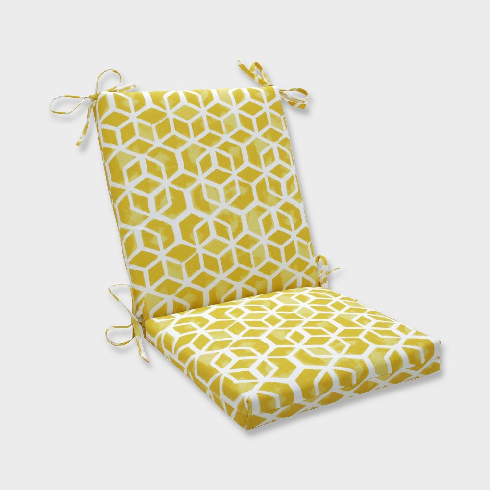 Celtic Pineapple Squared Corners Outdoor Chair Cushion Yellow - Pillow Perfect