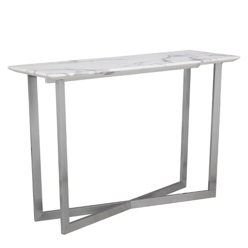 Aiden Lane Wexham Faux Marble Console Table Soft Ivory With Gray