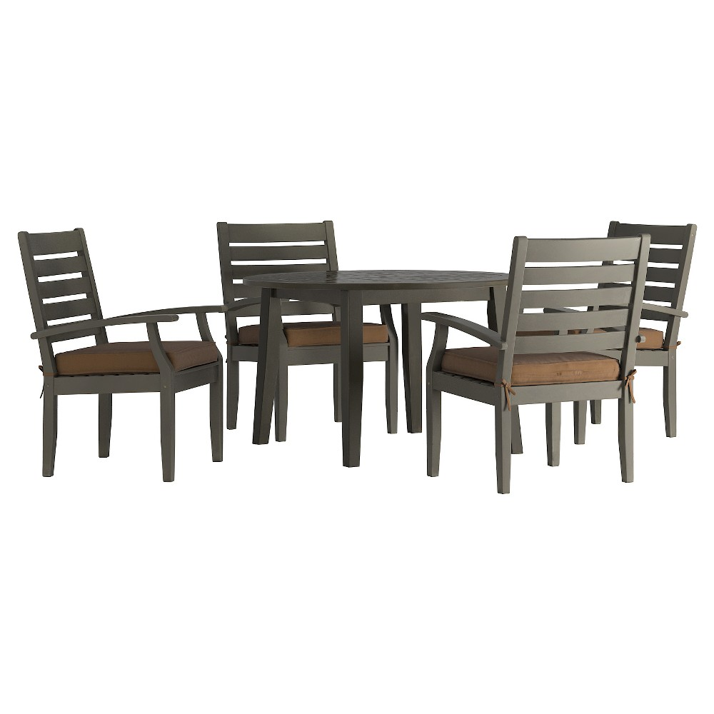 Parkview 5pc Round Wood Patio Dining Set w/ Cushions - Gray/Brown - Inspire Q