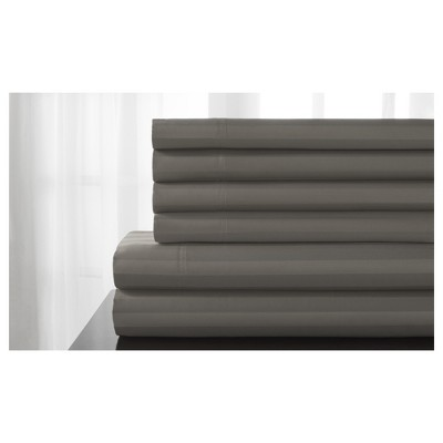 Delray Damask Stripe 600 Thread Count Cotton Sheet Set (King)Titanium - Elite Home Products