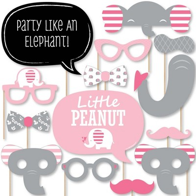 Big Dot of Happiness Pink Elephant - Girl Baby Shower or Birthday Party Photo Booth Props Kit - 20 Count