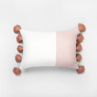 "14"" x 20"" Textured Colorblock Lumbar Pillow Copper / Sour Cream - Hearth & Hand™ with Magnolia"