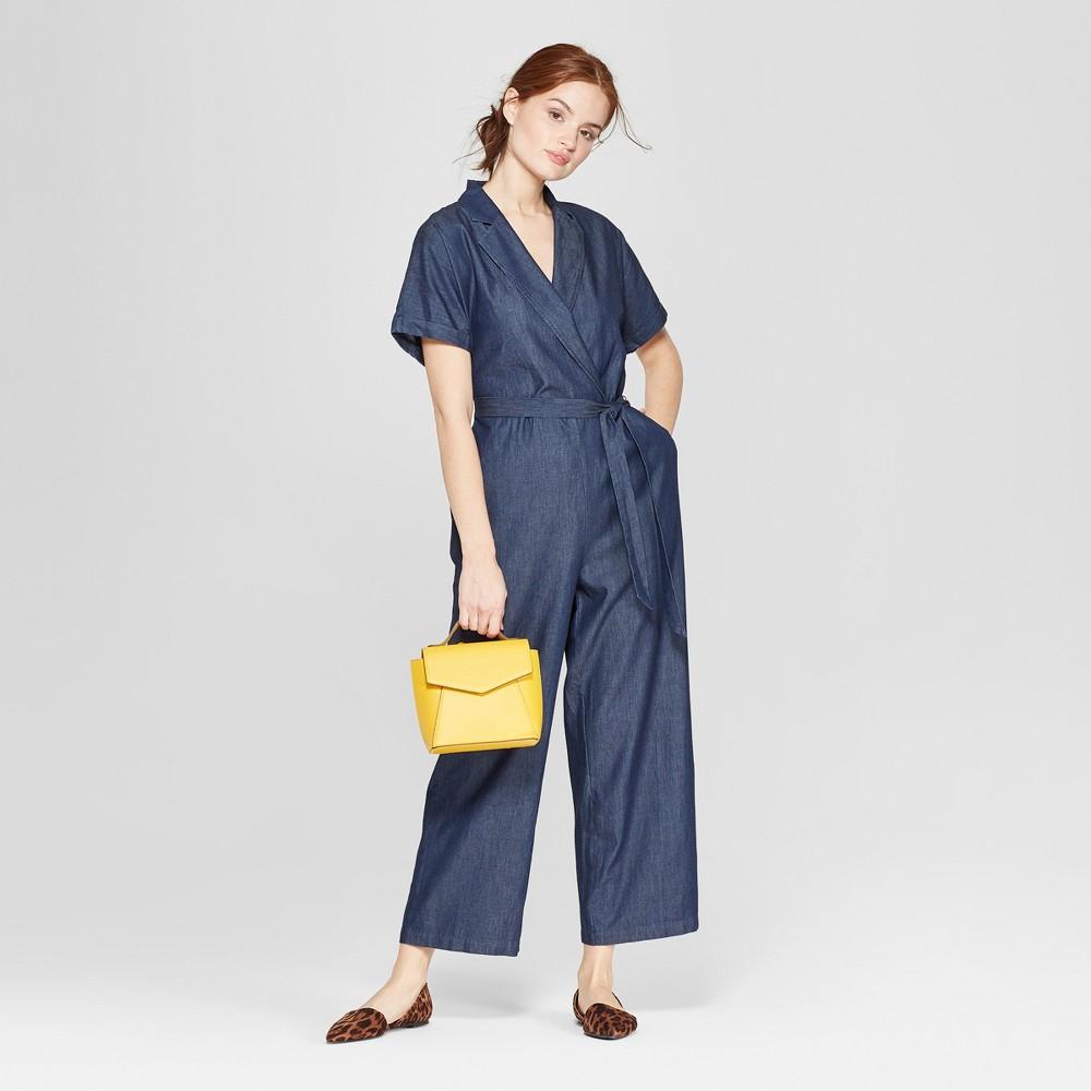 Women's Short Sleeve Collared Denim Jumpsuit - A New Day Indigo S, Blue